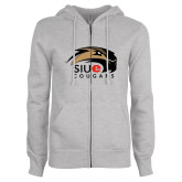 ENZA Ladies Grey Fleece Full Zip Hoodie-SIUE Cougars Official Logo