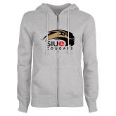 ENZA Ladies Grey Fleece Full Zip Hoodie-SIUE Cougars Official Logo