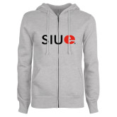 ENZA Ladies Grey Fleece Full Zip Hoodie-SIUE