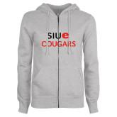 ENZA Ladies Grey Fleece Full Zip Hoodie-SIUE Cougars Stacked