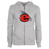 ENZA Ladies Grey Fleece Full Zip Hoodie-e Slash Mark