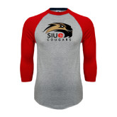 Grey/Red Raglan Baseball T Shirt-SIUE Cougars Official Logo