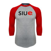 Grey/Red Raglan Baseball T Shirt-SIUE