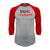 Grey/Red Raglan Baseball T Shirt-SIUE Cougars Stacked