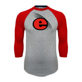 Grey/Red Raglan Baseball T Shirt-e Slash Mark