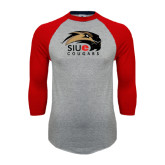 Grey/Red Raglan Baseball T Shirt-SIUE Cougars Official Logo Distressed