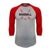 Grey/Red Raglan Baseball T-Shirt-Baseball Seams