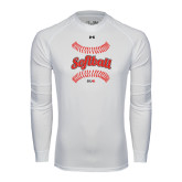 Under Armour White Long Sleeve Tech Tee-Softball Seams