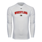 Under Armour White Long Sleeve Tech Tee-Wrestling Arched