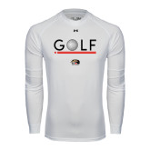 Under Armour White Long Sleeve Tech Tee-Golf Star and Stripes