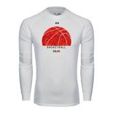 Under Armour White Long Sleeve Tech Tee-Basketball Texture Ball