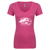 Next Level Ladies Junior Fit Deep V Pink Tee-SIUE Cougars Official Logo