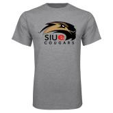 Grey T Shirt-SIUE Cougars Official Logo