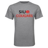 Grey T Shirt-SIUE Cougars Stacked