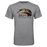 Grey T Shirt-SIUE Cougars Official Logo Distressed