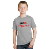Youth Grey T-Shirt-SIUE Cougars Stacked