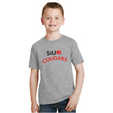 Youth Grey T-Shirt-SIUE Arched Cougars