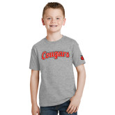 Youth Grey T-Shirt-Distressed Scripted Cougars