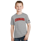 Youth Grey T-Shirt-Arched Cougars