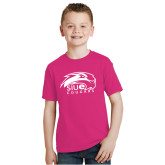 Youth Fuchsia T Shirt-SIUE Cougars Official Logo