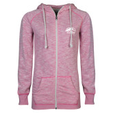 ENZA Ladies Hot Pink Marled Full Zip Hoodie-SIUE Cougars Official Logo
