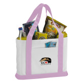 Contender White/Pink Canvas Tote-SIUE Cougars Official Logo