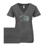 ENZA Ladies Graphite Melange V Neck Tee-SIUE Cougars Official Logo