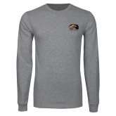 Grey Long Sleeve T Shirt-SIUE Cougars Official Logo