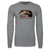 Grey Long Sleeve T Shirt-SIUE Cougars Official Logo