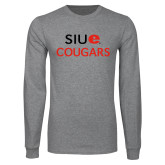 Grey Long Sleeve T Shirt-SIUE Cougars Stacked