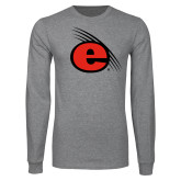 Grey Long Sleeve T Shirt-e Slash Mark