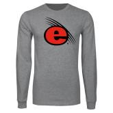 Grey Long Sleeve T Shirt-e Slash Mark