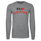 Grey Long Sleeve T Shirt-SIUE Arched Cougars