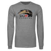 Grey Long Sleeve T Shirt-SIUE Cougars Official Logo Distressed