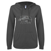 ENZA Ladies Dark Heather V-Notch Raw Edge Fleece Hoodie-SIUE Cougars Official Logo