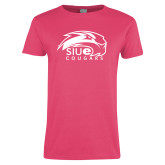 Ladies Fuchsia T Shirt-SIUE Cougars Official Logo