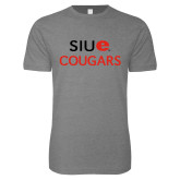 Next Level SoftStyle Heather Grey T Shirt-SIUE Cougars Stacked