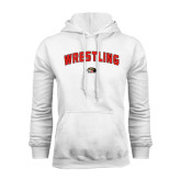 White Fleece Hoodie-Wrestling Arched