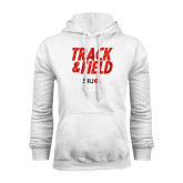 White Fleece Hoodie-Track and Field Polygon Texture
