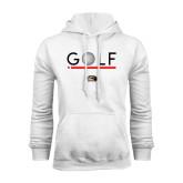 White Fleece Hoodie-Golf Star and Stripes
