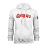 White Fleece Hoodie-Distressed Scripted Cougars