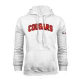 White Fleece Hoodie-Arched Cougars
