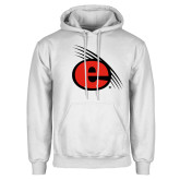 White Fleece Hoodie-e Slash Mark