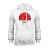 White Fleece Hoodie-Basketball Texture Ball