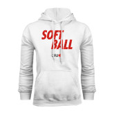 White Fleece Hoodie-Softball Polygon Text