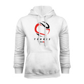 White Fleece Hoodie-Abstract Tennis Ball
