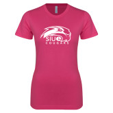 Ladies SoftStyle Junior Fitted Fuchsia Tee-SIUE Cougars Official Logo