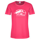 Ladies Performance Hot Pink Tee-SIUE Cougars Official Logo