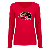 Ladies Red Long Sleeve V Neck T Shirt-SIUE Cougars Official Logo
