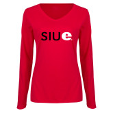 Ladies Red Long Sleeve V Neck T Shirt-SIUE